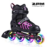 2PM SPORTS Brice Adjustable Light up Inline Roller Skates for Boys and Girls - Pink S(31-34)