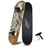 Sefulim Skull Skateboard Complete 31x8 Inches Double Kick Trick Skateboards Cruiser Penny Beginners...